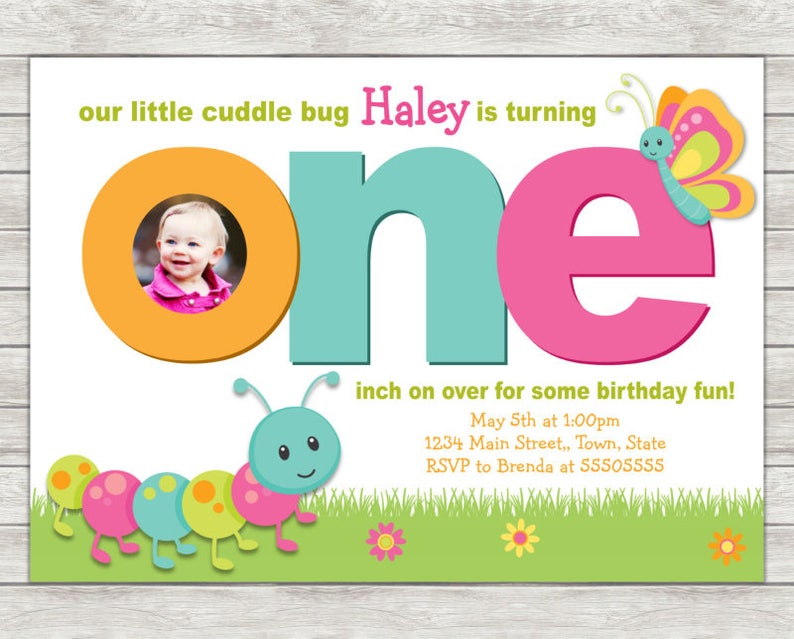 Cuddle Bug Birthday Invitation 1st Party