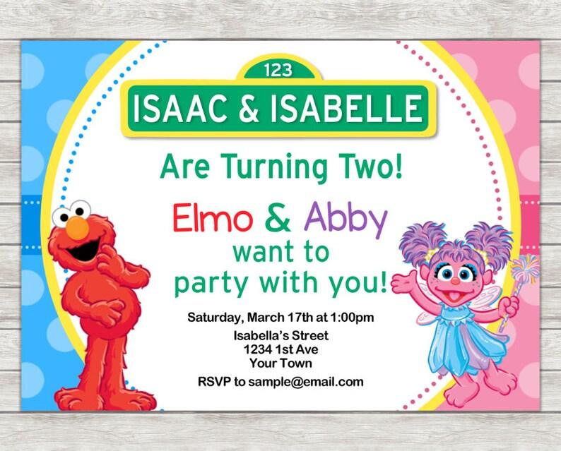 Elmo Abby Cadabby Birthday Invitation Twin Joint Sesame