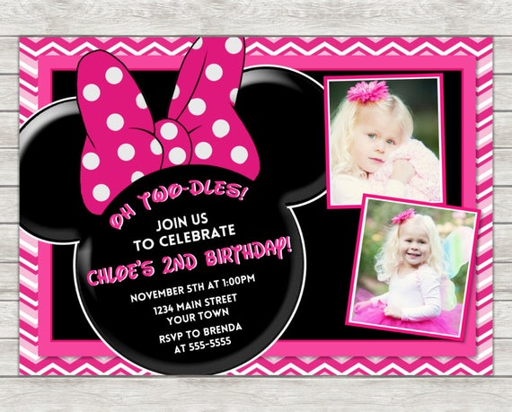 Minnie Mouse Birthday Invitation Pink Printed Or