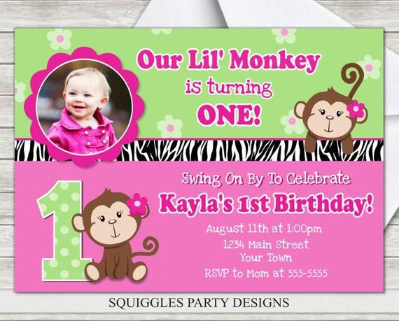 Monkey girl birthday invitation pink monkey 1st birthday etsy filmwisefo
