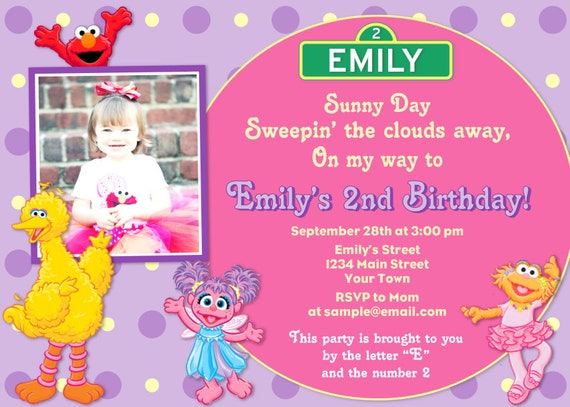 Sesame Street Girl Birthday Invitation Pink