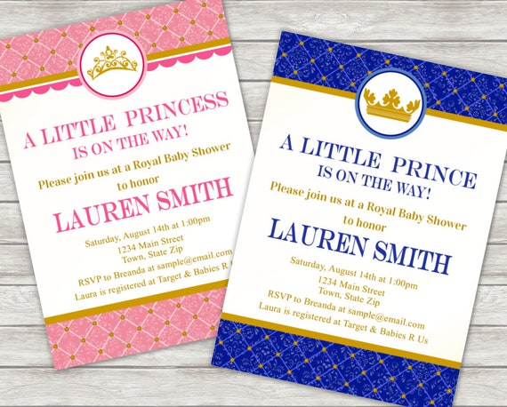 prince baby shower invitation princess digital file etsy