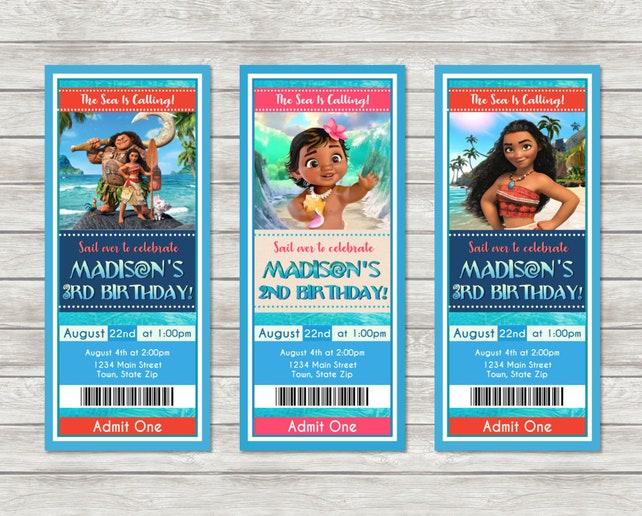 Moana Ticket Birthday Invitations
