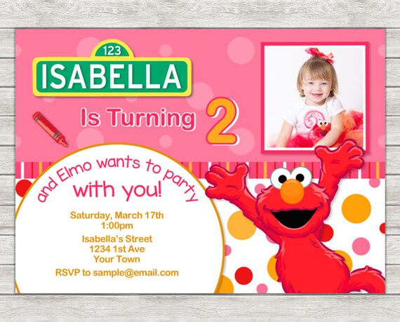 Elmo Birthday Invitation Pink Girl Party Digital File