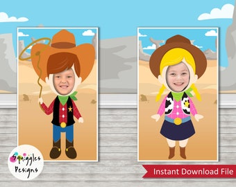 Cowboy - Cowgirl Photo Booth Props (includes 1 Cowboy & 1 Cowgirl) - Digital Files