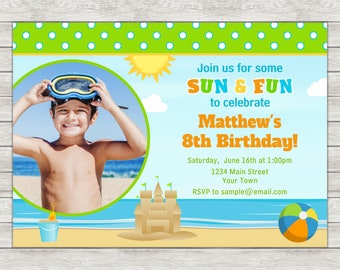 Beach Birthday Invitation, Beach Party Invitation, Beach Boy - Digital File (Printing Services Available)