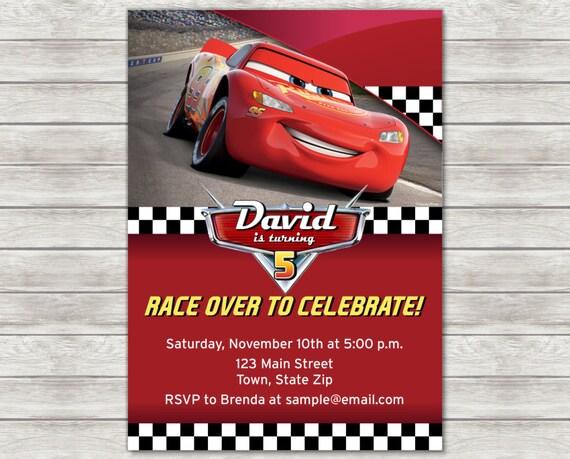 Disney Cars Birthday Invitation Lightning McQueen Printed Or