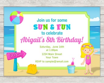 Beach Birthday Invitation, Beach Party Invitation, Beach Girl - Digital File (Printing Services Available)