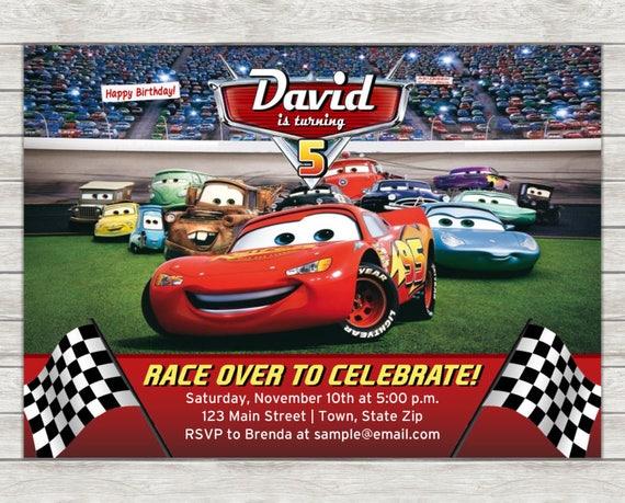 Disney Cars Birthday Invitation Lightning McQueen Digital
