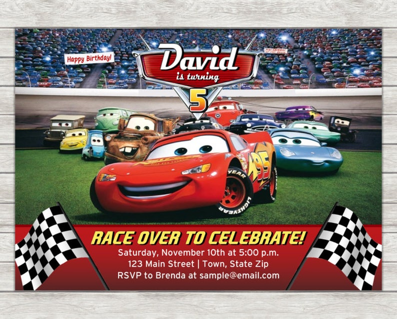 Disney Cars Birthday Invitation Lightning McQueen Digital
