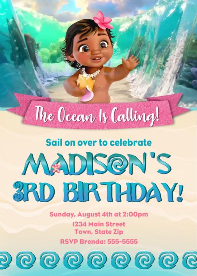 Moana Birthday Invitation Baby