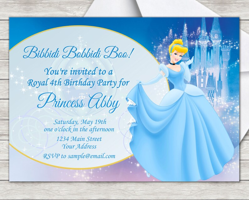 Cinderella Birthday Invitation Party - Digital File