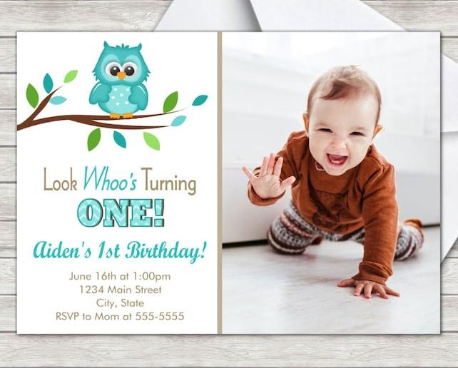 Owl 1st Birthday Invitation Boy Owl Birthday Invitation Digital