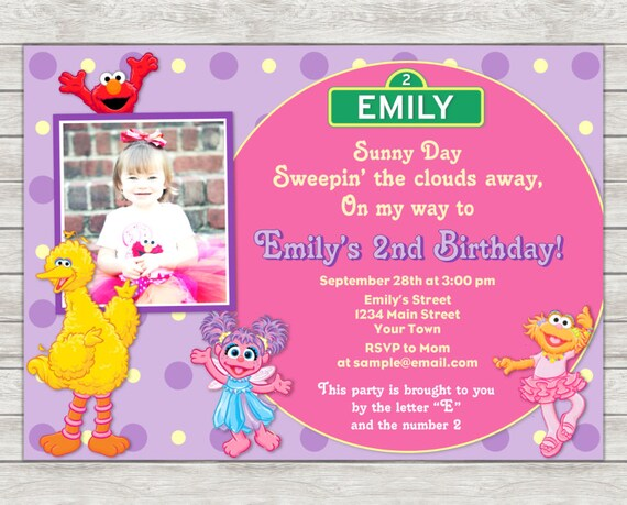 Sesame Street Girl Birthday Invitation Pink