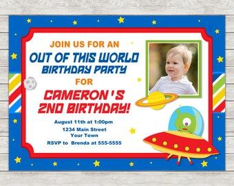 Alien Birthday Invitation, Outer Space Birthday Invitation - Digital File (Printing Services Available)