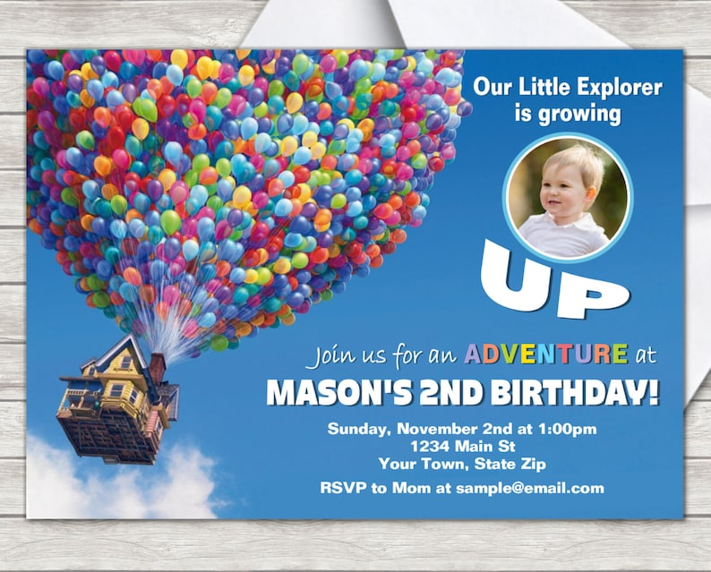 Disney Up Birthday Invitation Digital File