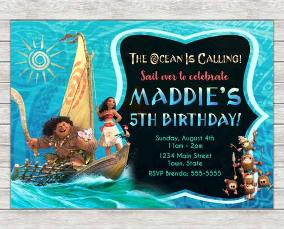 Moana Maui Birthday Invitation
