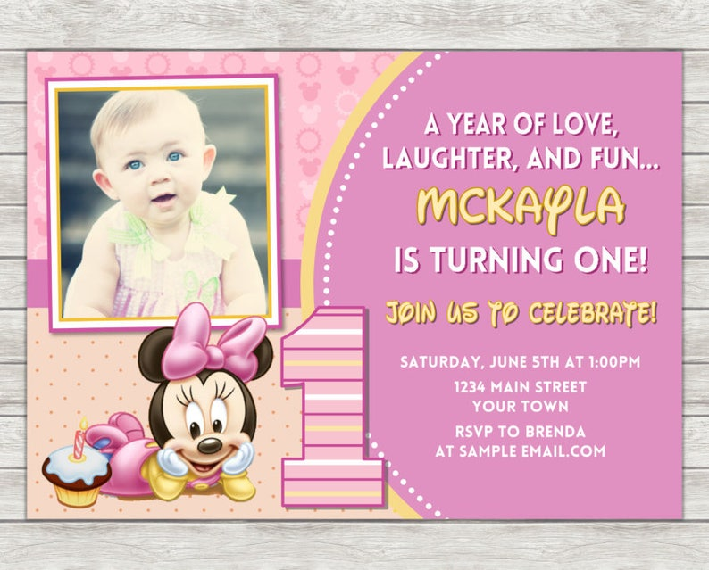 Minnie Mouse 1st Birthday Invitation Pink Minnie Mouse Etsy