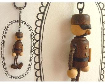 Japan Soldier Keychain in Wood