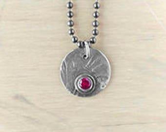 Jacquard and gem necklace - garnet