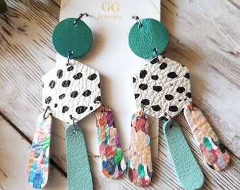Geometric Boho Leather Earrings, Modern Pattern Mix Earrings, Animal Print Leather Earrings, Boho Leather Earrings, Colorful Dangle Earrings