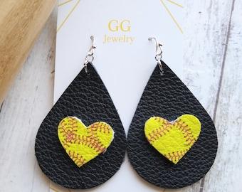Softball earrings, heart softball, teardrop heart, Softball Earrings for softball Moms or Sports fans, Genuine Leather, Mothers Day gift