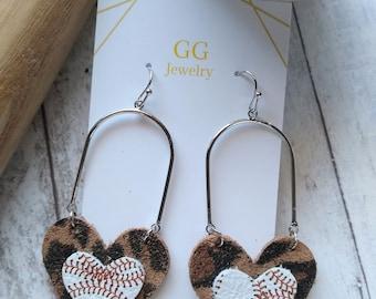 Baseball earrings, heart baseball, teardrop heart, Baseball Earrings for baseball Moms or Sports fans, Genuine Leather, Mothers Day gift