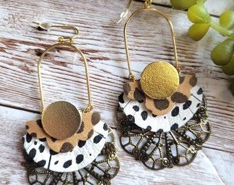 Black and White Leopard Geometric Earrings, Geometric Leather Earrings, Casual Earrings, Arch Filagree earrings