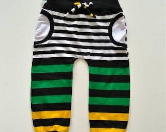 Hip stripes faux pocket pants
