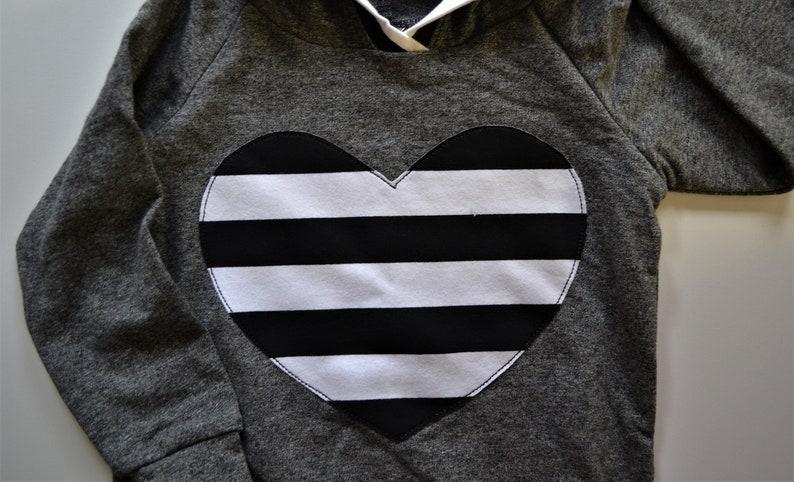 Black and White Stripe Big Heart Hoodie