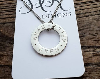 Argentium sterling silver round washer pendant Perth rustic and textured Western Australia