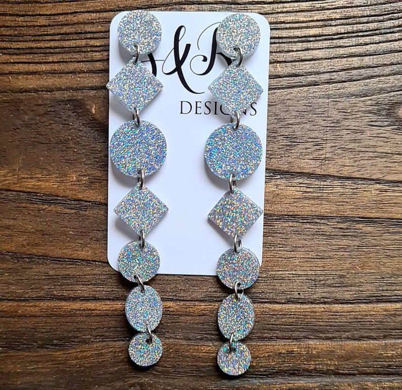 Silver Holographic Glitter Extra Super Long Circle Diamond Dangle Statement Earrings 12.5cm long