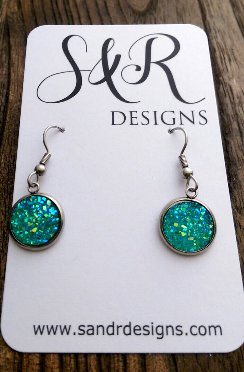 Green AB Sparkly Faux Druzy Dangle Earrings made of Stainless Steel