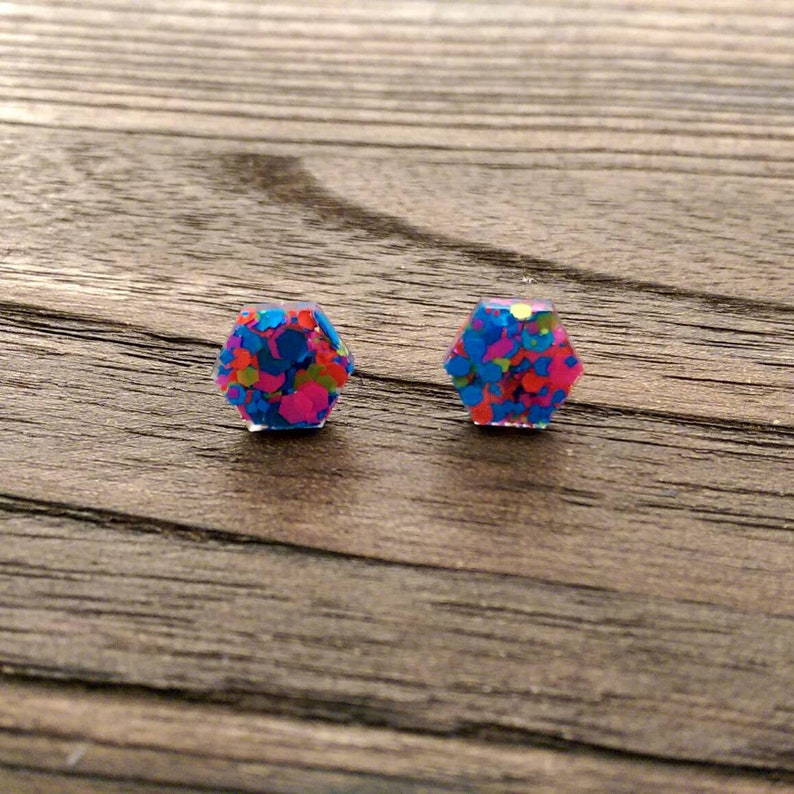 Neon Pink Blue Orange Yellow Glitter Earrings Stainless Steel Stud Earrings Hexagon Resin Stud Earrings 10mm or 6mm