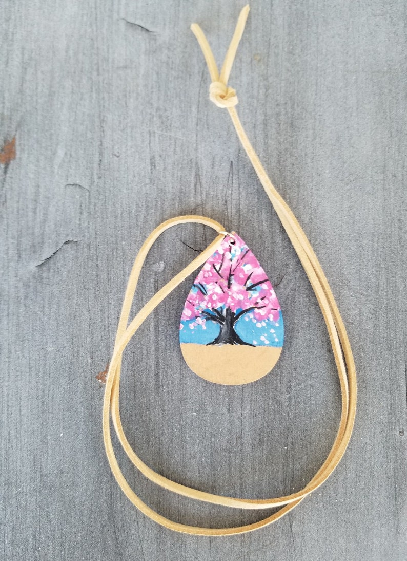 Mother/'s Day Gift Sally Crisp Wood Jewelry Painted Wood Pendant Wood Necklace Cherry Blossom Jewelry