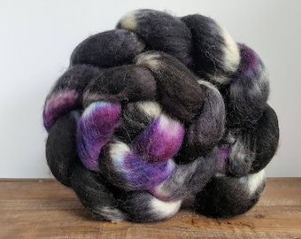 Oh Curse's- Hand Painted Superwash Bluefaced Leicester Roving- SW BFL - 4 oz Spinning Fiber - Hand Painted Roving