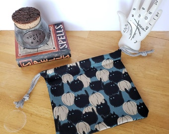 Black Cats & Pumpkins, Project Bags for Knitting, Small Project Bag, Knitting Project Bag, Sock Knitting Bag, Gift for Knitter