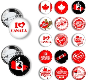 Oh Canada Pins Patriotic Pins Party Favors  Pin Back Button Party Favors  1.25 inch Buttons pins badges Party gifts