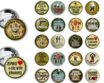 Zombie Pins Party Favors 1.25 inch pinback buttons pins badges magnets Zombie Party Zombie Buttons Zombie badges