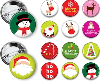 mod christmas pins santa buttons 125 inch pinback buttons pins badges magnets party favors - Christmas Pins