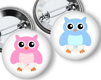 Owl Gender Reveal Party Favors Set 1.25 or 1.75 inch Pin Back  Buttons Pink Blue Baby Shower Team buttons pins badges