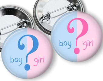 Team boy team Girl Question Mark Gender Reveal Party Favors 1.25 or 1.75 inch Pin Back  Buttons Pins Badges Baby Shower Game
