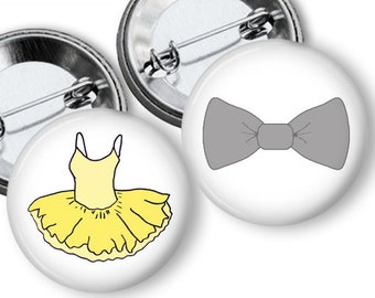 Bow Tie or TUTU Gender Reveal Party Favors 1.25 or 1.75 inch pinback buttons Pins Badges Yellow and Grey Team Pins baby shower game