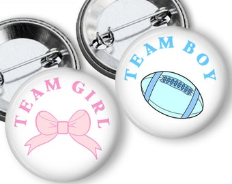 Football And Bows Gender Reveal Party  Party Favors Set of 1.25 or 1.75 inch Pin Back  Buttons Pink Blue Baby Shower Team Buttons