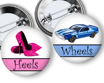 Set of 20 Hotrod Cars Wheels or Heels Gender Reveal Pins Buttons Party Favors