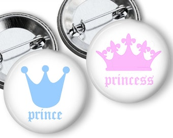 Prince or Princess Crowns Gender Reveal Party Favors 1.25 or 1.75 inch pinback buttons, pins, badges Team Buttons Pins Badges