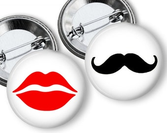 Black Mustache Red Lips Gender Reveal Party Favors 1.25 or 1.75 inch Pin Back Buttons Pins Badges Team Pins Baby Shower Game