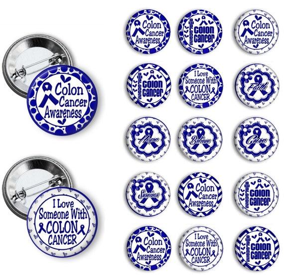 Blue Ribbon Colon Cancer Awareness Pins Colon Cancer Awareness Etsy