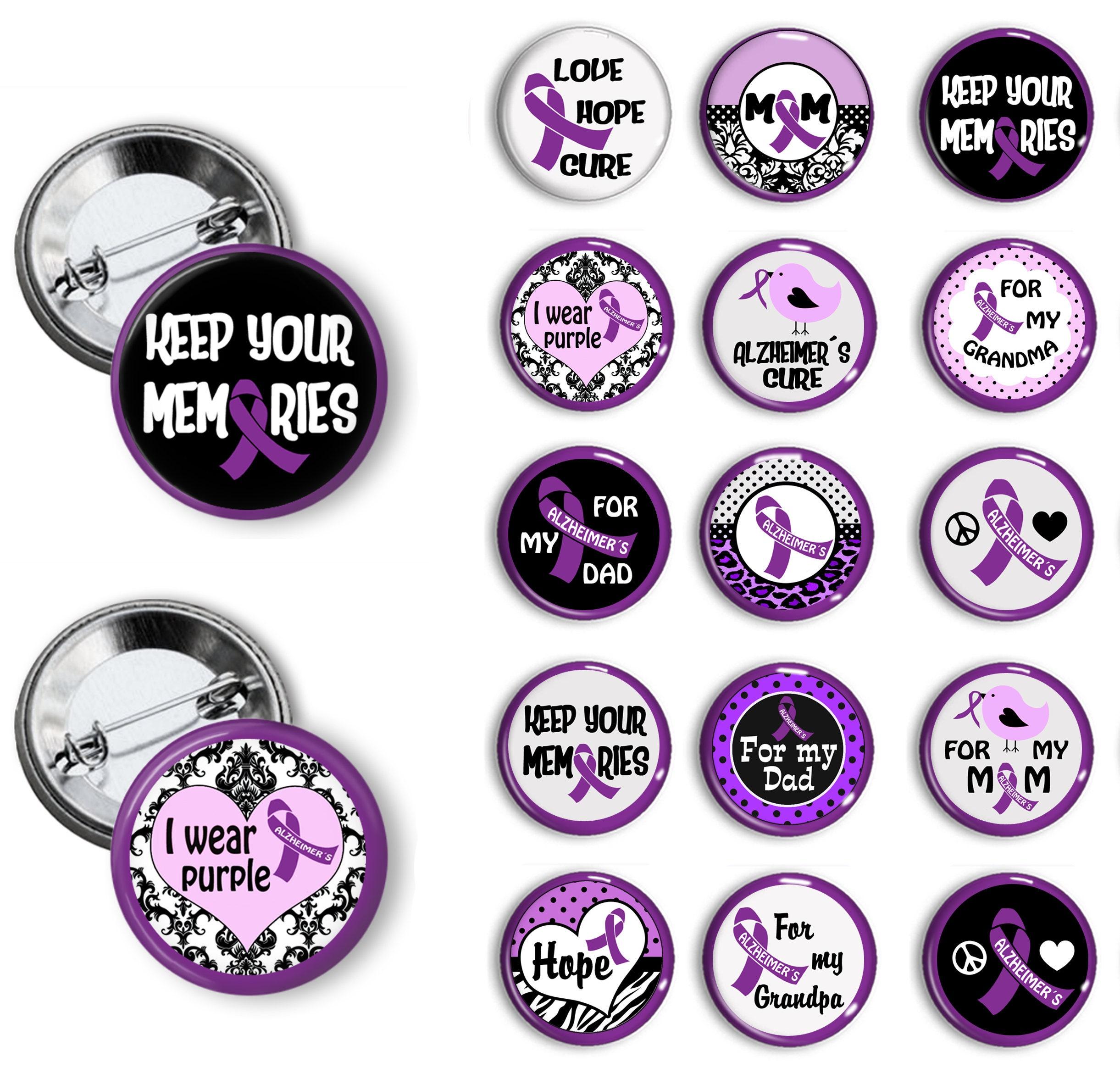 ca0dcab582d Alzheimer Awareness Pins Alzheimer Awareness Buttons Alzheimer Awareness  Badges 1.25 inch pinback buttons pin badges