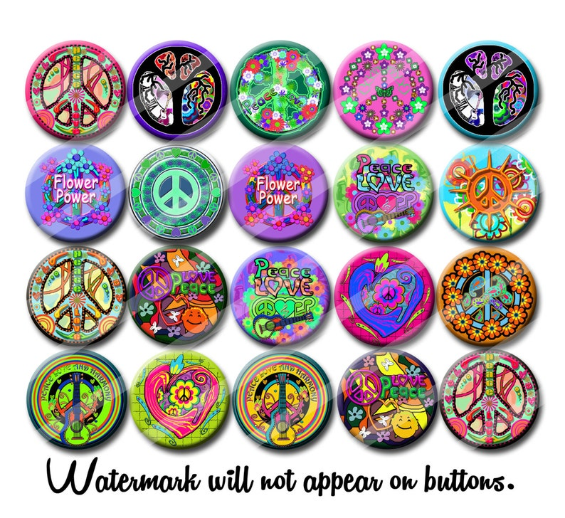 Peace and Love 60's Hippie party favors 1.25 inch pinback image 0